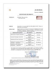 Certificado platos ducha